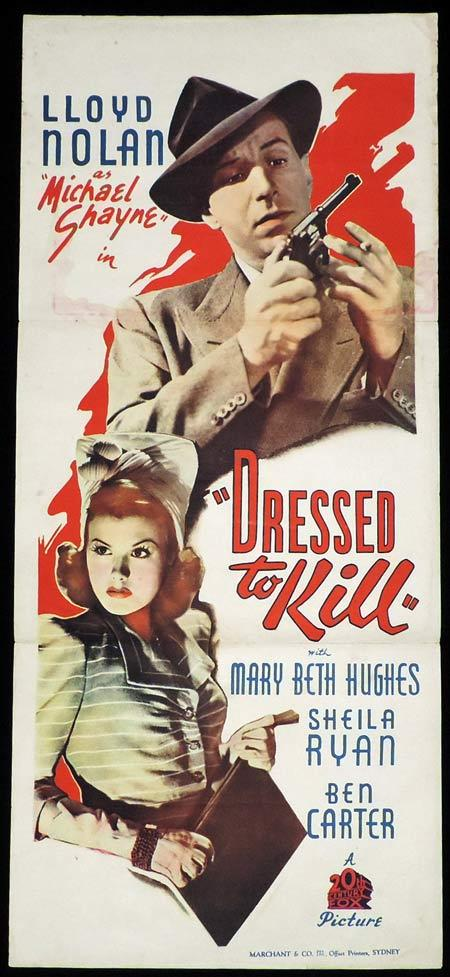 DRESSED TO KILL Daybill Movie Poster Lloyd Nolan Michael Shayne 1941 Film Noir