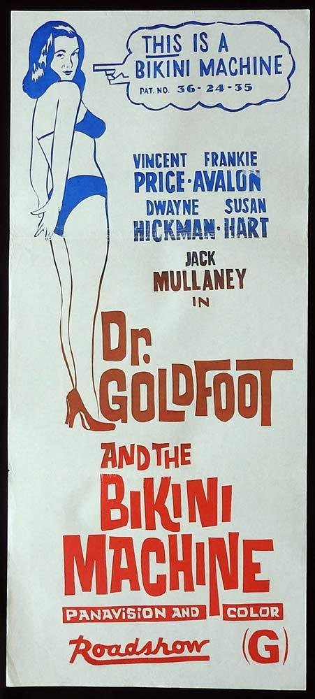 DR GOLDFOOT AND THE BIKINI MACHINE Original 70sr Daybill Movie Poster Vincent Price Frankie Avalon