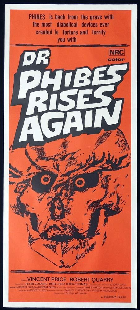 DR PHIBES RISES AGAIN Original Daybill Movie Poster Vincent Price