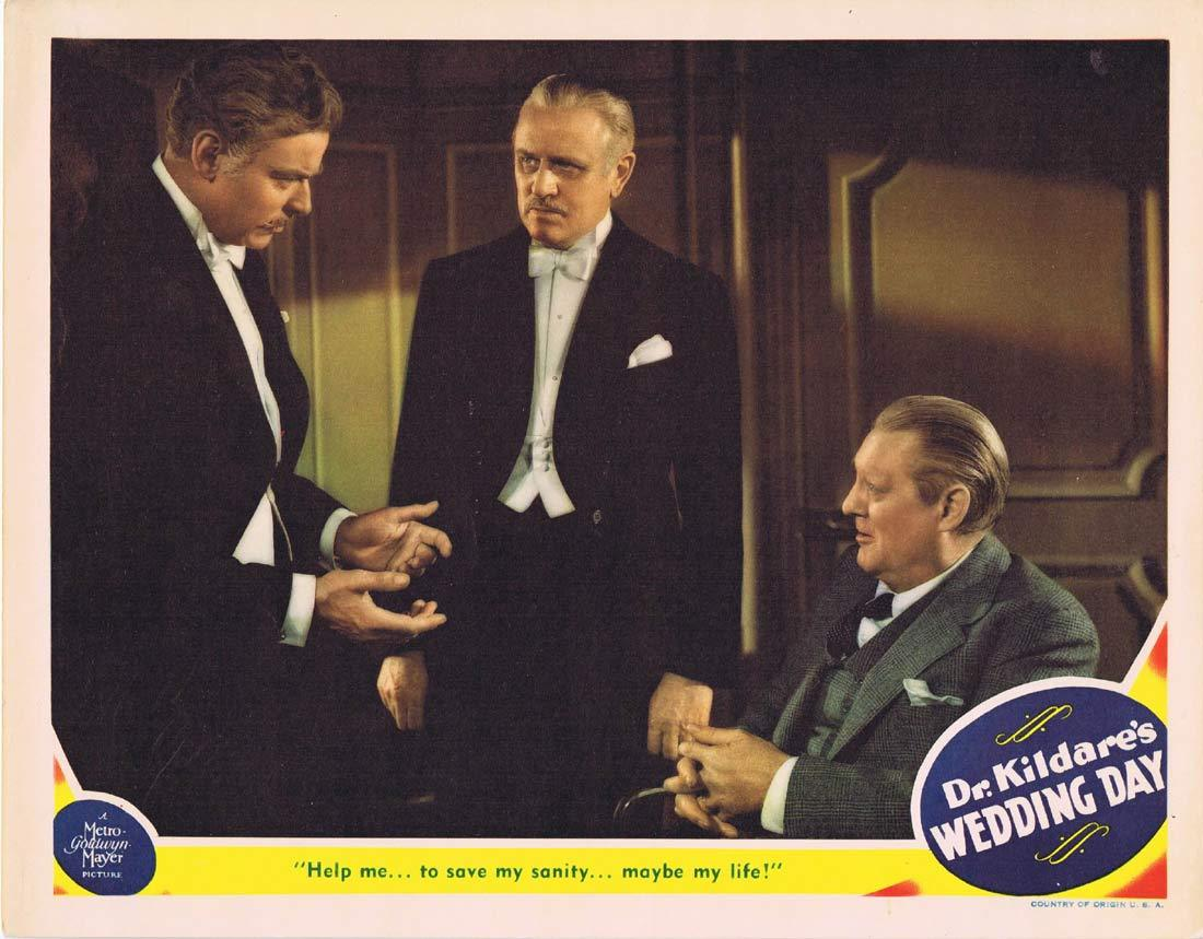 DR KILDARE'S WEDDING DAY Original Lobby Card 2 Lew Ayres Lionel Barrymore Laraine Day