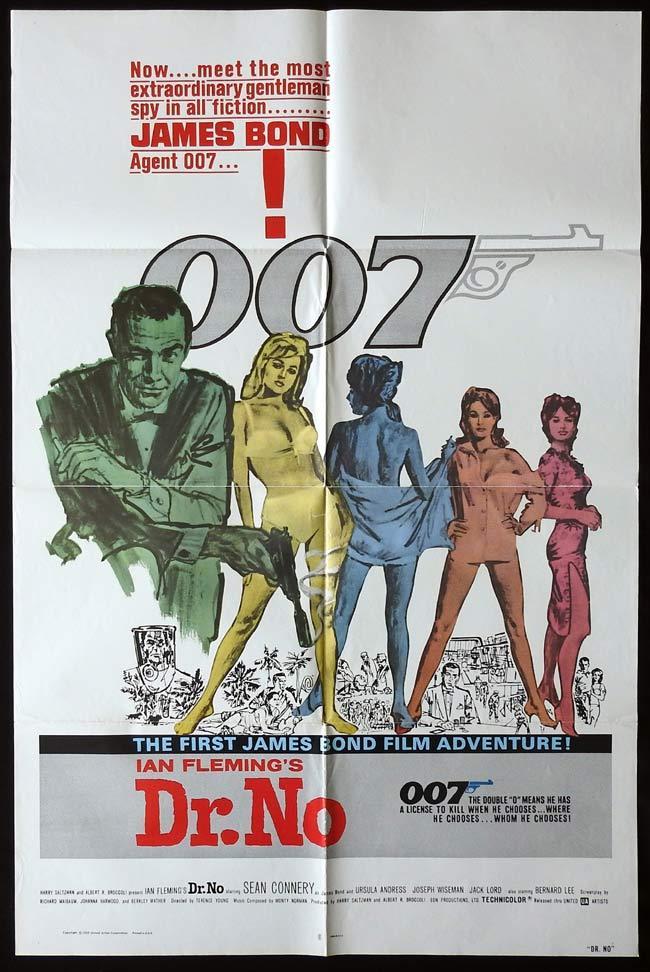 DR NO Original One sheet Movie poster JAMES BOND Sean Connery 1980r
