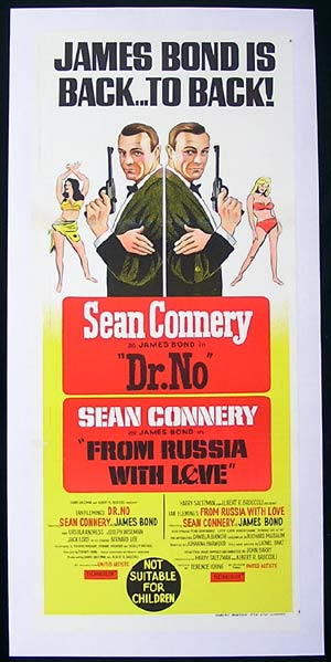 DR NO/FROM RUSSIA WITH LOVE '65-Sean Connery ORIGINAL Combo Linen backed daybill