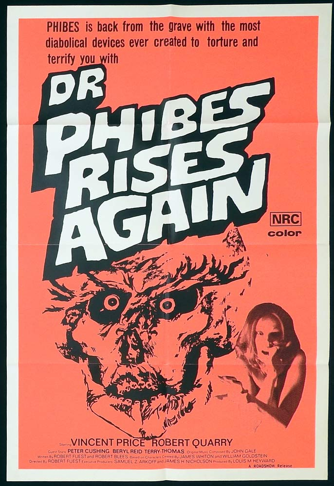 DR PHIBES RISES AGAIN One Sheet Movie Poster Horror Vincent Price Robert Quarry