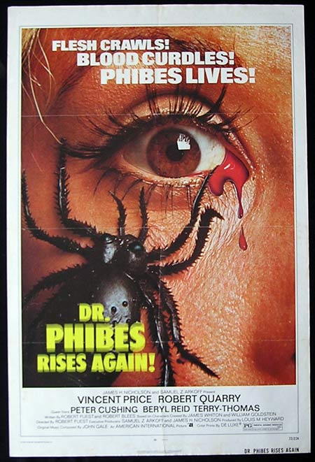 DR PHIBES RISES AGAIN US One sheet movie poster Vincent Price Peter Cushing Original