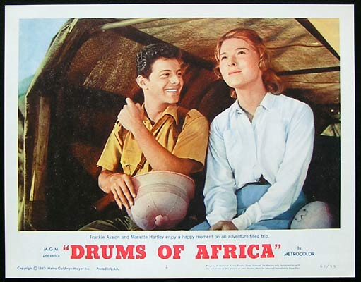 DRUMS OF AFRICA 1963 Lobby card 3 Frankie Avalon Lloyd Bochner