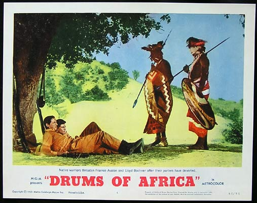 DRUMS OF AFRICA 1963 Lobby card 4 Frankie Avalon Lloyd Bochner