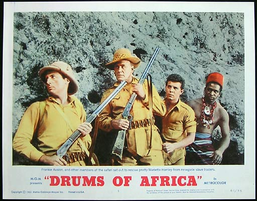DRUMS OF AFRICA 1963 Lobby card 5 Frankie Avalon Lloyd Bochner