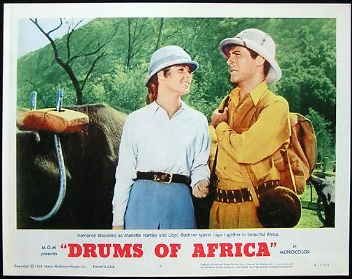 DRUMS OF AFRICA 1963 Lobby card 7 Frankie Avalon Lloyd Bochner