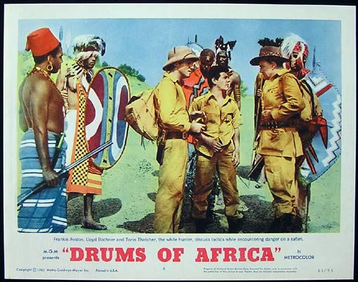 DRUMS OF AFRICA 1963 Lobby card 8 Frankie Avalon Lloyd Bochner