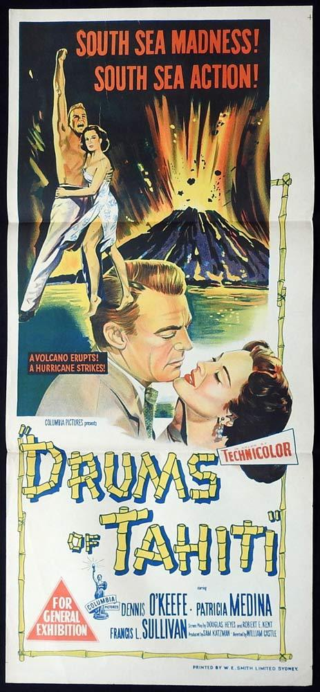 DRUMS OF TAHITI 1954 William Castle Daybill Movie poster