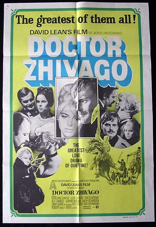 DR ZHIVAGO Original One sheet Movie poster Julie Christie Omar Sharif 1970sr