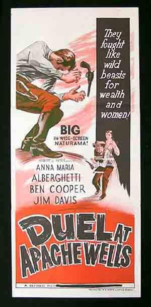 DUEL AT APACHE WELLS Daybill Movie Poster Anna Maria Alberghetti Ben Cooper