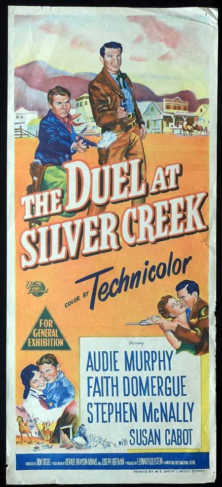THE DUEL AT SILVER CREEK Original daybill Movie Poster Audie Murphy Faith Domergue Stephen McNally