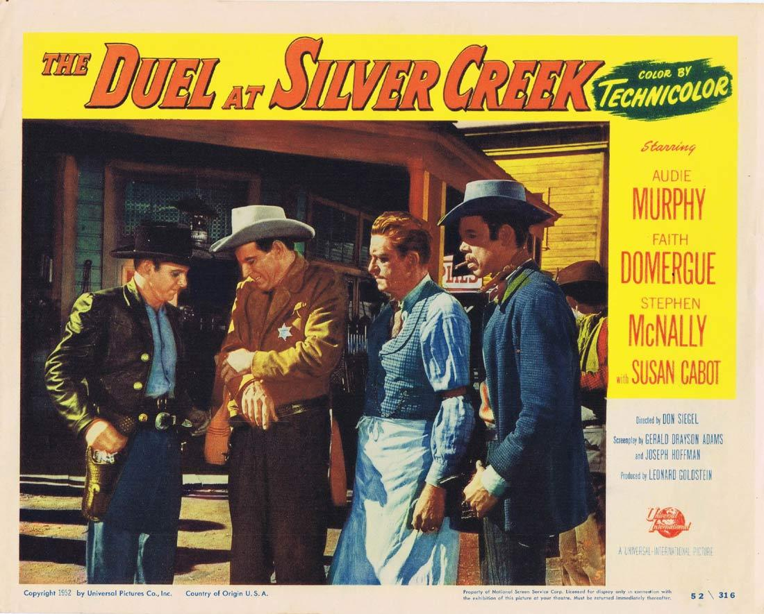 DUEL AT SILVER CREEK Original Lobby Card 5 Audie Murphy Faith Domergue Stephen McNally
