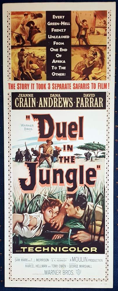 DUEL IN THE JUNGLE Original US Insert Movie Poster Dana Andrews Jeanne Crain