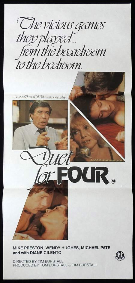 DUET FOR FOUR Original daybill Movie Poster Michael Pate Wendy Hughes Diane Cilento