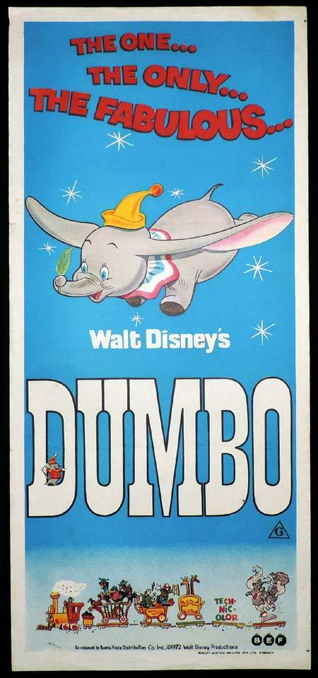 DUMBO Original Daybill Movie Poster Walt Disney 1970s release
