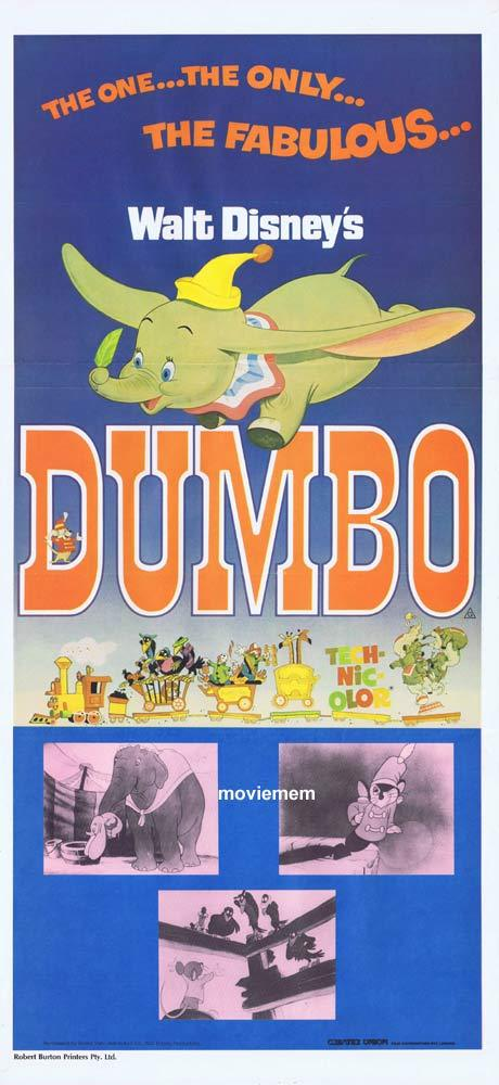 DUMBO Original 70s release Daybill Movie Poster WALT DISNEY