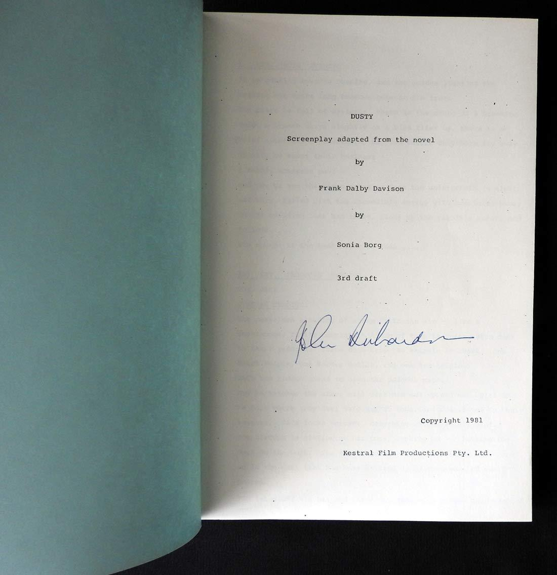 DUSTY Original Australian Movie Script Signed by the Director