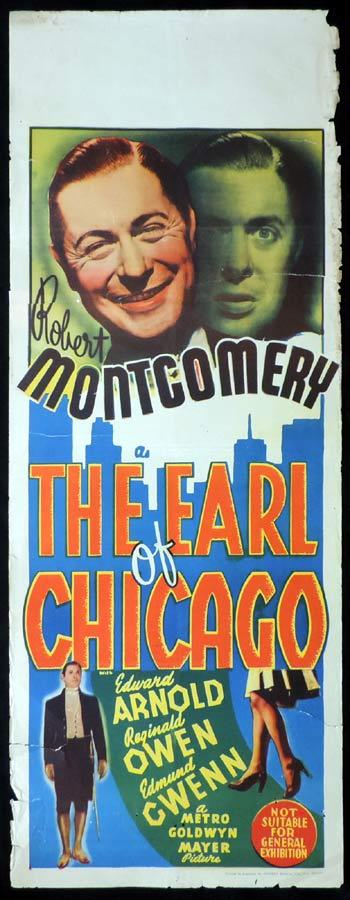THE EARL OF CHICAGO Long Daybill Movie poster 1940 Robert Montgomery