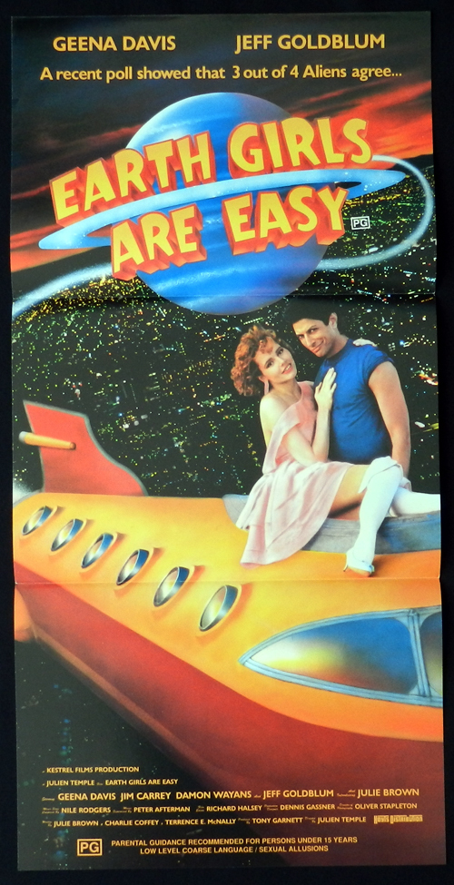 EARTH GIRLS ARE EASY Australian daybill Movie poster Geena Davis Jeff Goldblum