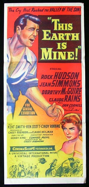 THIS EARTH IS MINE Daybill Movie poster 1959 Rock Hudson