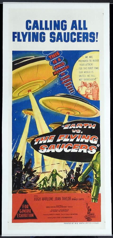 EARTH VS THE FLYING SAUCERS Original LINEN BACKED Daybill Movie Poster Sci Fi Classic