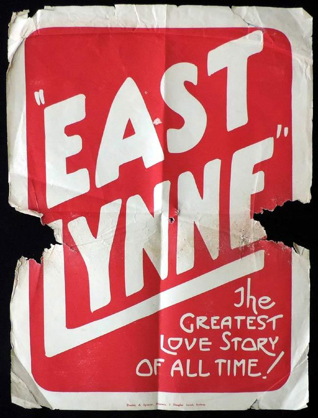 EAST LYNNE Vintage ORGINAL Movie poster 1922 Australian Film