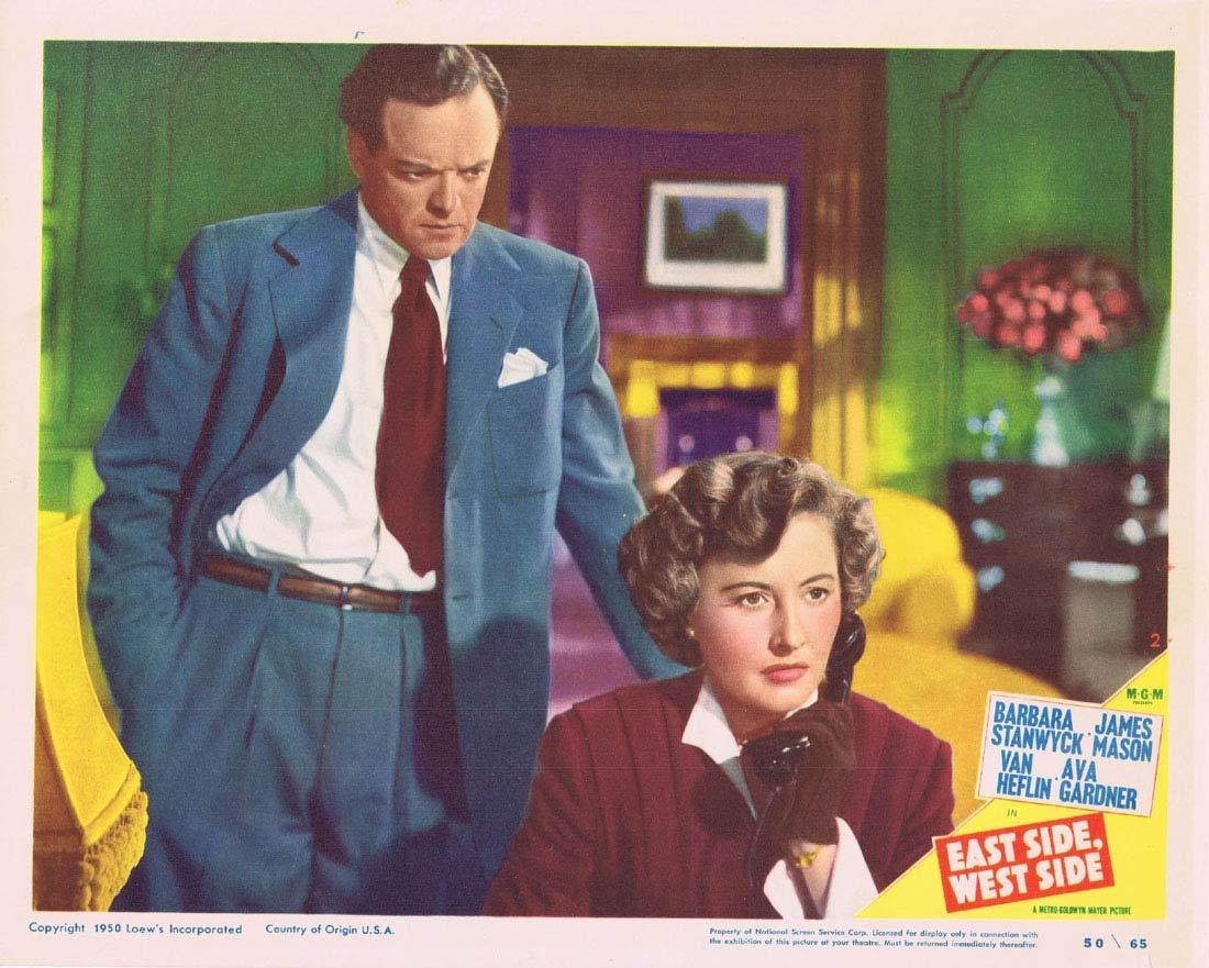 EAST SIDE WEST SIDE Original Lobby Card 2 Barbara Stanwyck James Mason Van Heflin