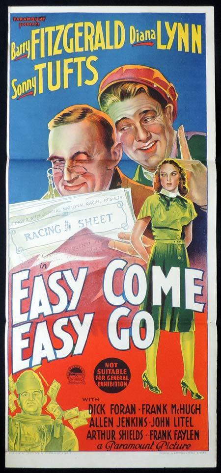EASY COME EASY GO, Original Daybill, Movie Poster, Barry Fitzgerald, Diana Lynn, Richardson Studio
