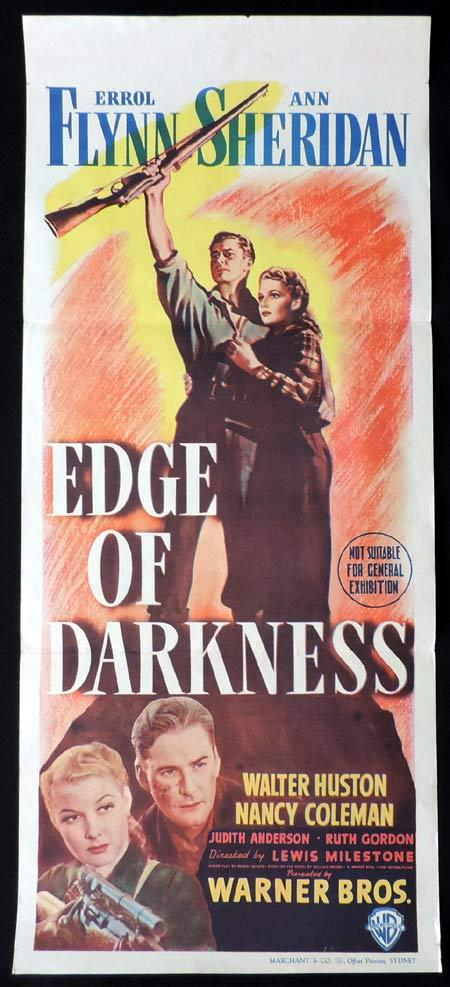 EDGE OF DARKNESS Original Daybill Movie Poster Errol Flynn 1943