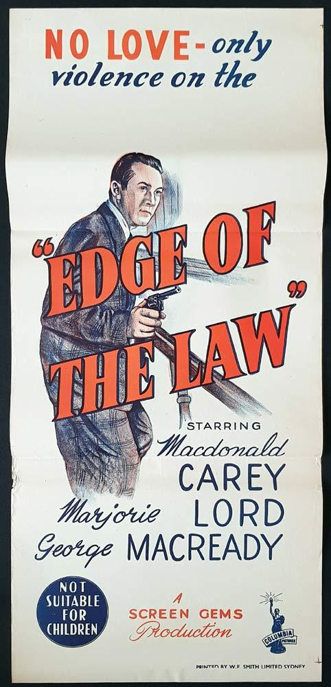 EDGE OF THE LAW Original Daybill Movie Poster Macdonald Carey
