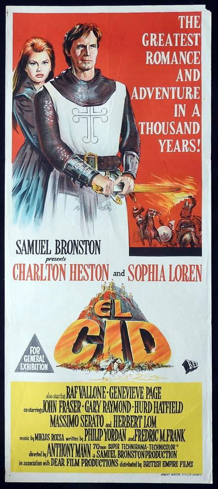 EL CID Original daybill Movie Poster Sophia Loren Charlton Heston