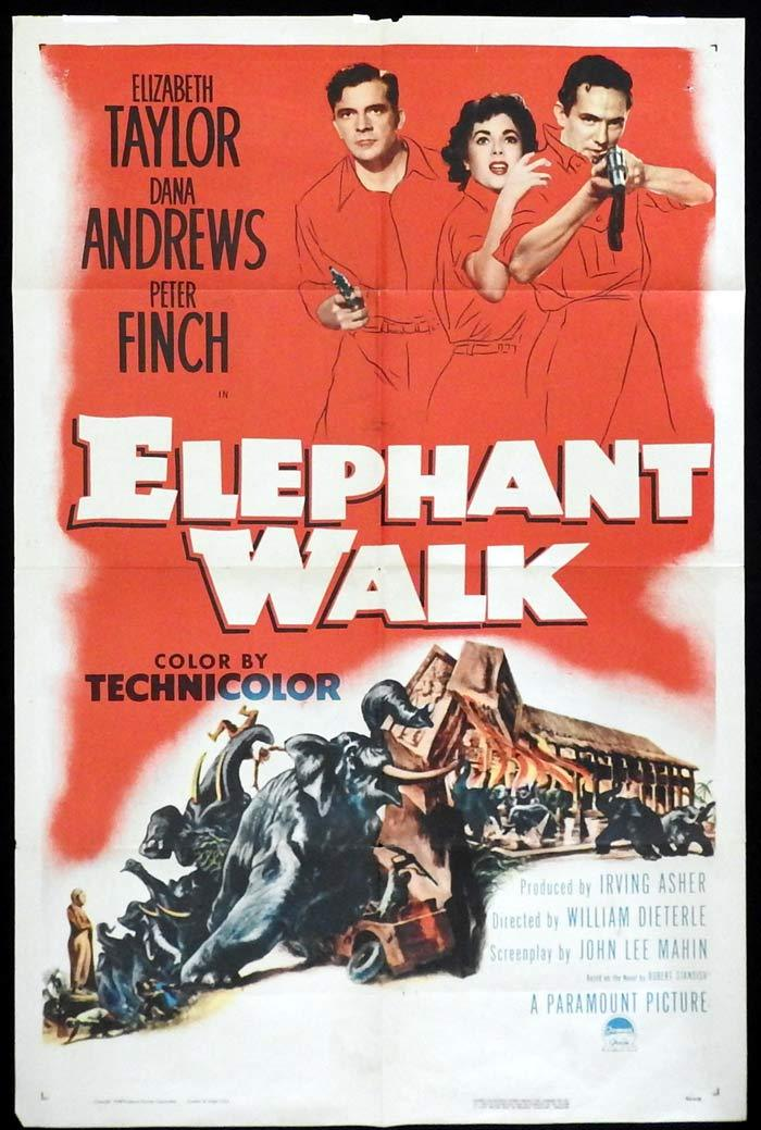 ELEPHANT WALK Original One sheet Movie poster Elizabeth Taylor Dana Andrews