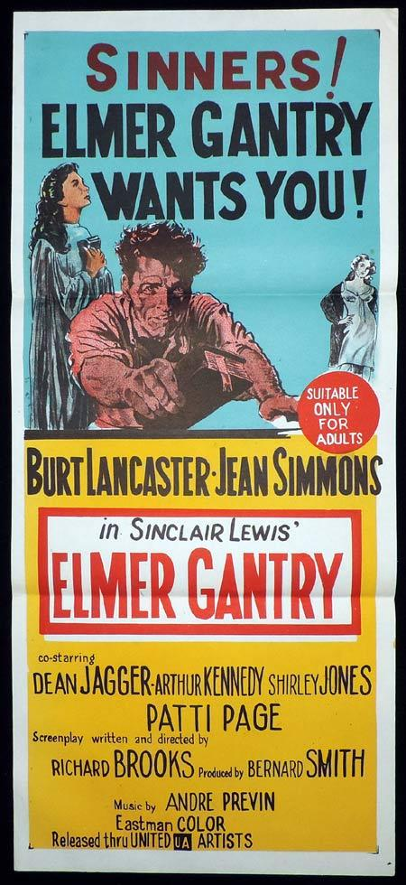 ELMER GANTRY Original Daybill Movie Poster Burt Lancaster Jean Simmons