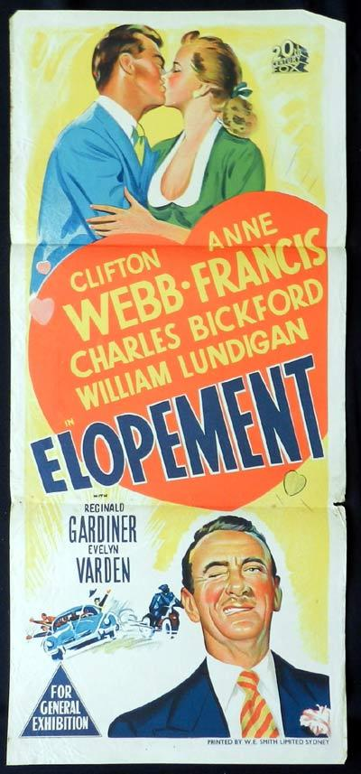 ELOPEMENT Original Daybill Movie Poster Clifton Webb Anne Francis