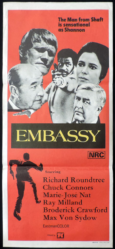 EMBASSY Daybill Movie poster Chuck Connors Richard Roundtree Ray Milland