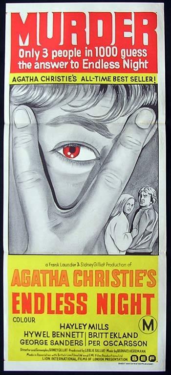 ENDLESS NIGHT Original Daybill Movie Poster Hywell Bennett Agatha Christie