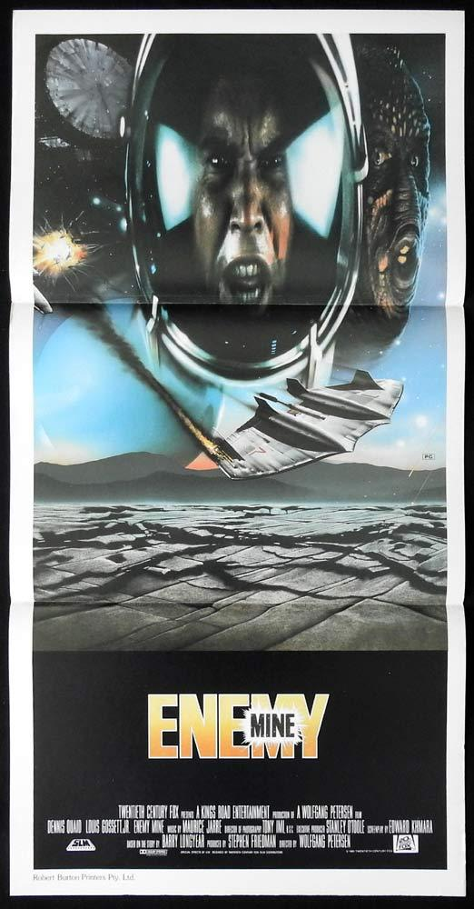 ENEMY MINE Dennis Quaid Lou Gossett VINTAGE Original Daybill Movie Poster