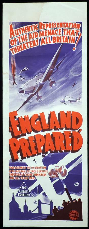 ENGLAND PREPARED Long Daybill Movie poster c.1939 Wartime Documentary
