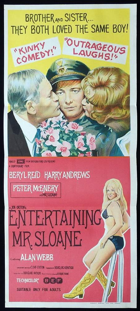 ENTERTAINING MR SLOANE Original Daybill Movie Poster Beryl Reid Harry Andrews