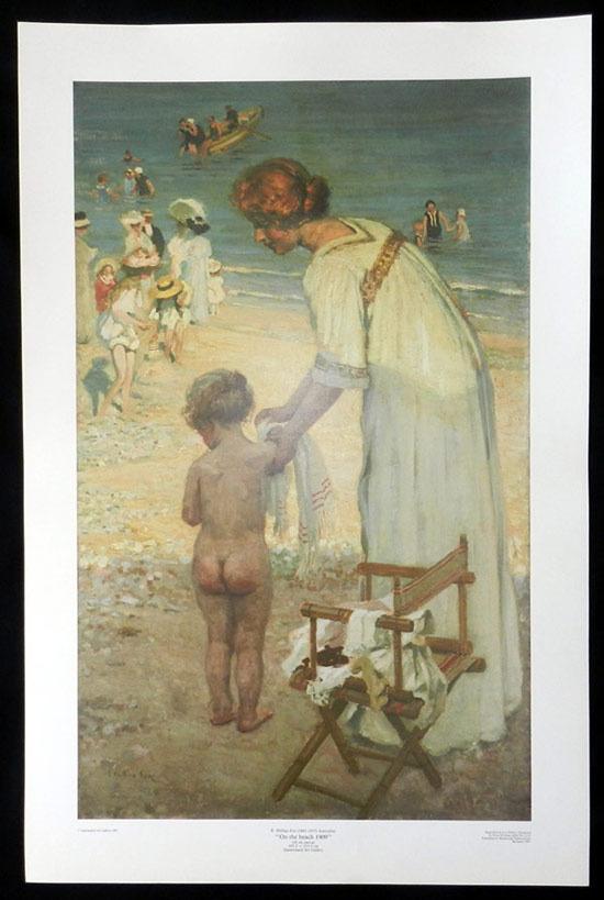 E.PHILLIPS FOX On the Beach 1909 Australian Art RARE Print