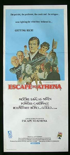 ESCAPE TO ATHENA Australian Daybill Movie poster Roger Moore Telly Savalas David Niven