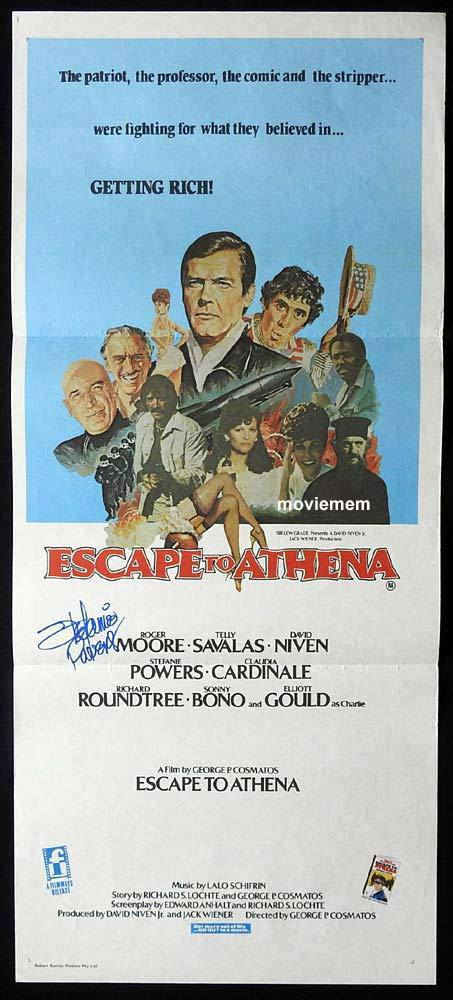 ESCAPE TO ATHENA Original Daybill Movie Poster Autograph Stefanie Powers