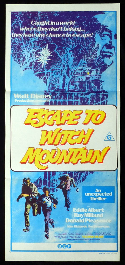 ESCAPE TO WITCH MOUNTAIN Ray Milland Disney VINTAGE Daybill Movie poster