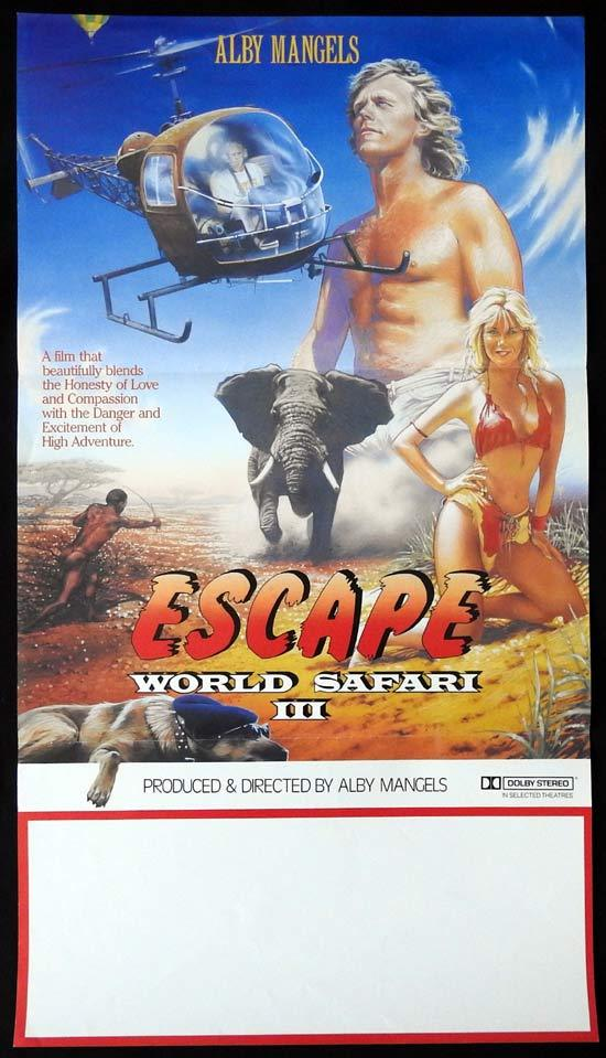 "WORLD SAFARI 3 ESCAPE Daybill Movie poster Alby Mangels AUSTRALIAN FILM ""C"""
