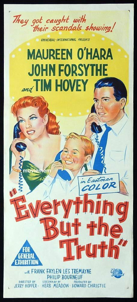 EVERYTHING BUT THE TRUTH Original Daybill Movie Poster JOhn Forsyte Maureen O'Hara