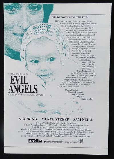 EVIL ANGELS aka CRY IN THE DARK '88 Meryl Streep Sam Neill SCHEPISI Original Study Guide