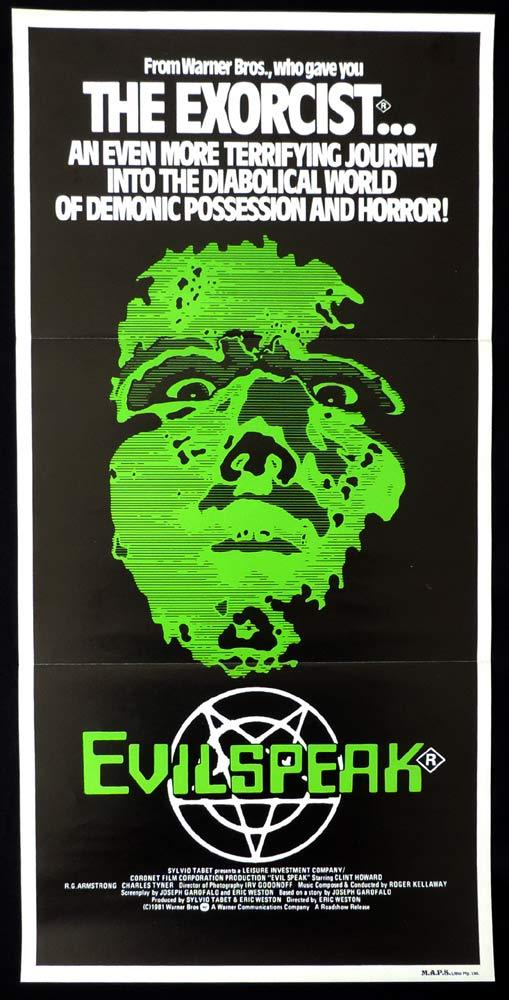 EVILSPEAK Original daybill Movie poster Clint Howard-HORROR