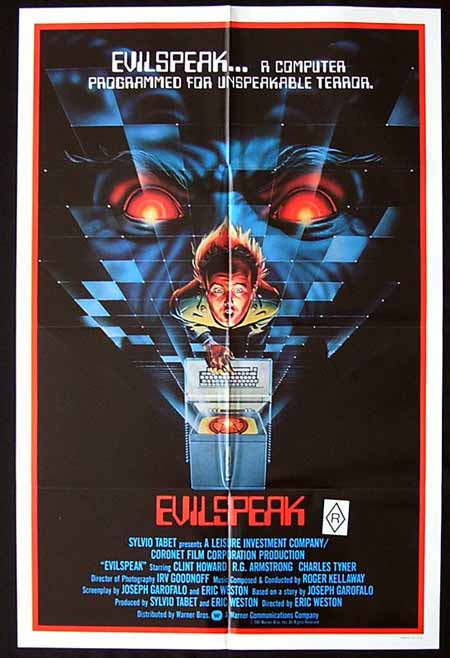 EVILSPEAK Original One sheet Movie poster Clint Howard Horror